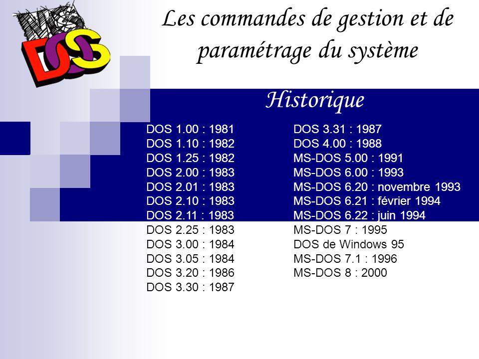Les commandes de gestion et de paramétrage du système DOS 1.00 : 1981 DOS 1.10 : 1982 DOS 1.25 : 1982 DOS 2.00 : 1983 DOS 2.01 : 1983 DOS 2.10 : 1983 DOS 2.11 : 1983 DOS 2.25 : 1983 DOS 3.00 : 1984 DOS 3.05 : 1984 DOS 3.20 : 1986 DOS 3.30 : 1987 Historique DOS 3.31 : 1987 DOS 4.00 : 1988 MS-DOS 5.00 : 1991 MS-DOS 6.00 : 1993 MS-DOS 6.20 : novembre 1993 MS-DOS 6.21 : février 1994 MS-DOS 6.22 : juin 1994 MS-DOS 7 : 1995 DOS de Windows 95 MS-DOS 7.1 : 1996 MS-DOS 8 : 2000