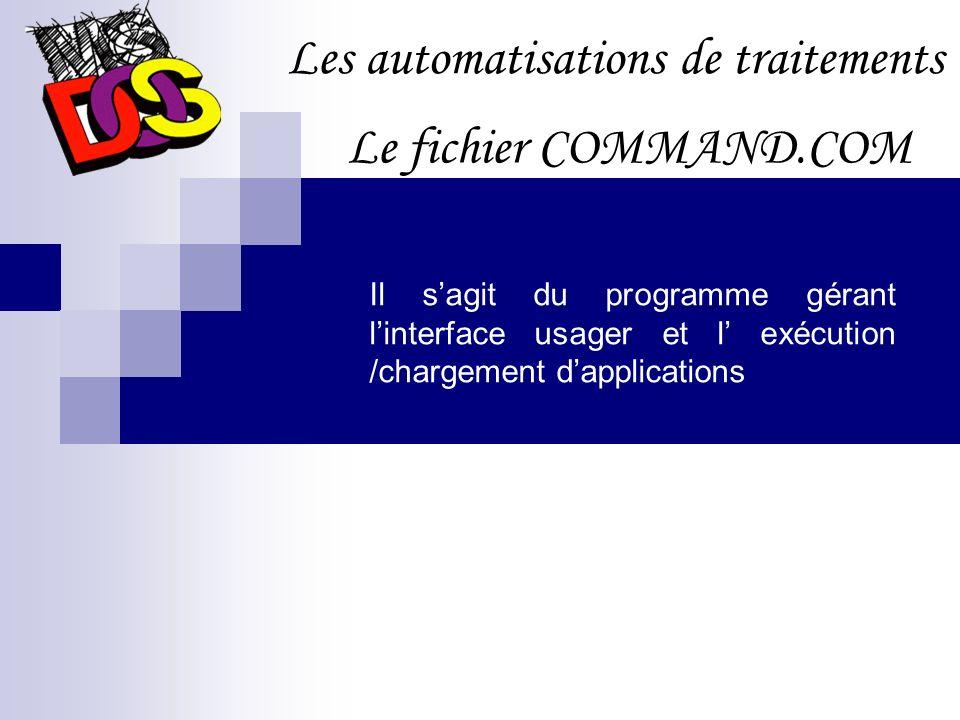 Les automatisations de traitements Le fichier CONFIG.SYS DEVICE Permet le chargement des gestionnaires de périphériques DOS La zone de mémoire dans laquelle le DOS se chargera FILES Le nombre de fichiers qui peuvent être ouverts simultanément Charge le gestionnaire de périphériques Définit la configuration de MS-DOS