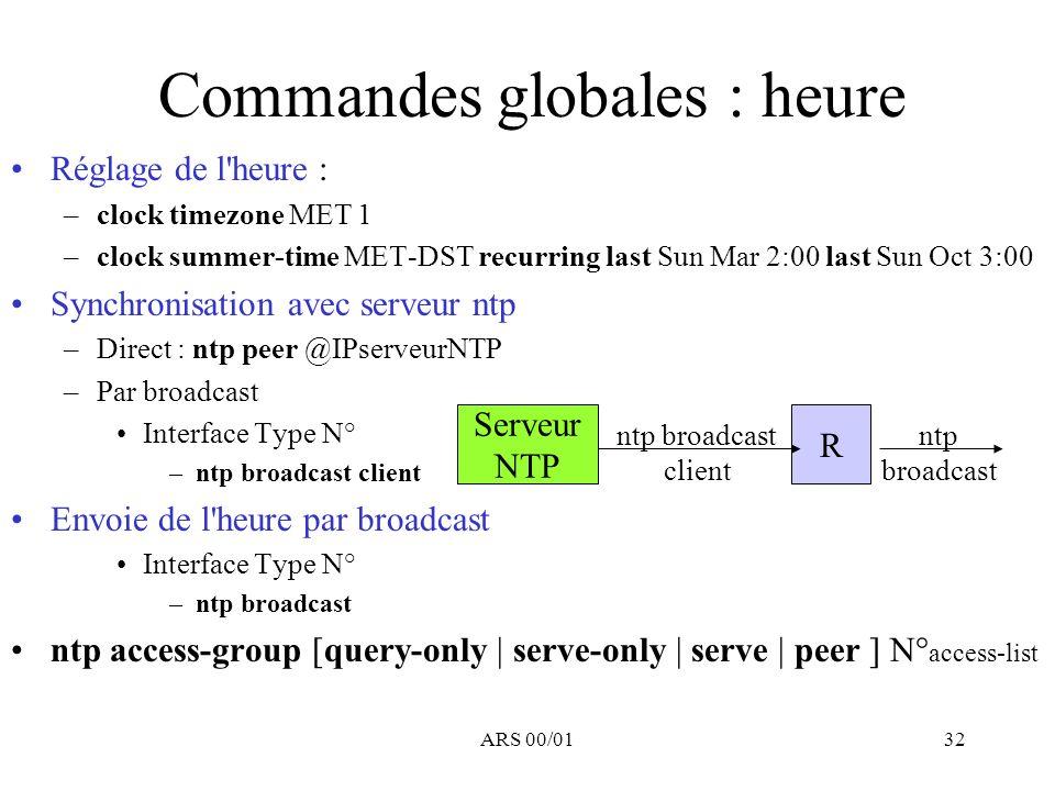 ARS 00/0132 Commandes globales : heure Réglage de l'heure : –clock timezone MET 1 –clock summer-time MET-DST recurring last Sun Mar 2:00 last Sun Oct