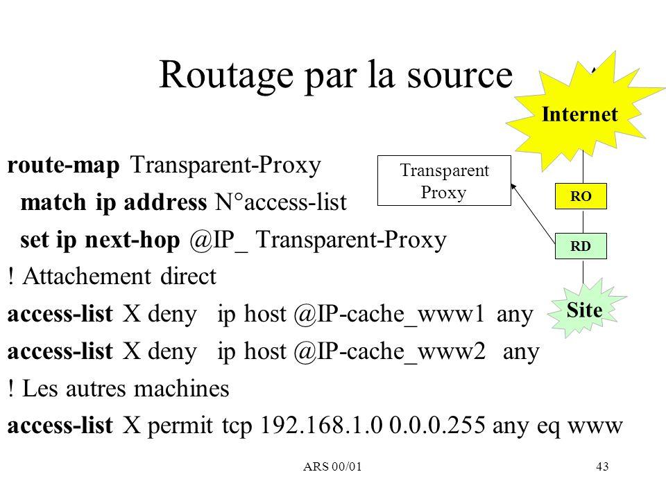 ARS 00/0143 Routage par la source route-map Transparent-Proxy match ip address N°access-list set ip next-hop @IP_ Transparent-Proxy ! Attachement dire