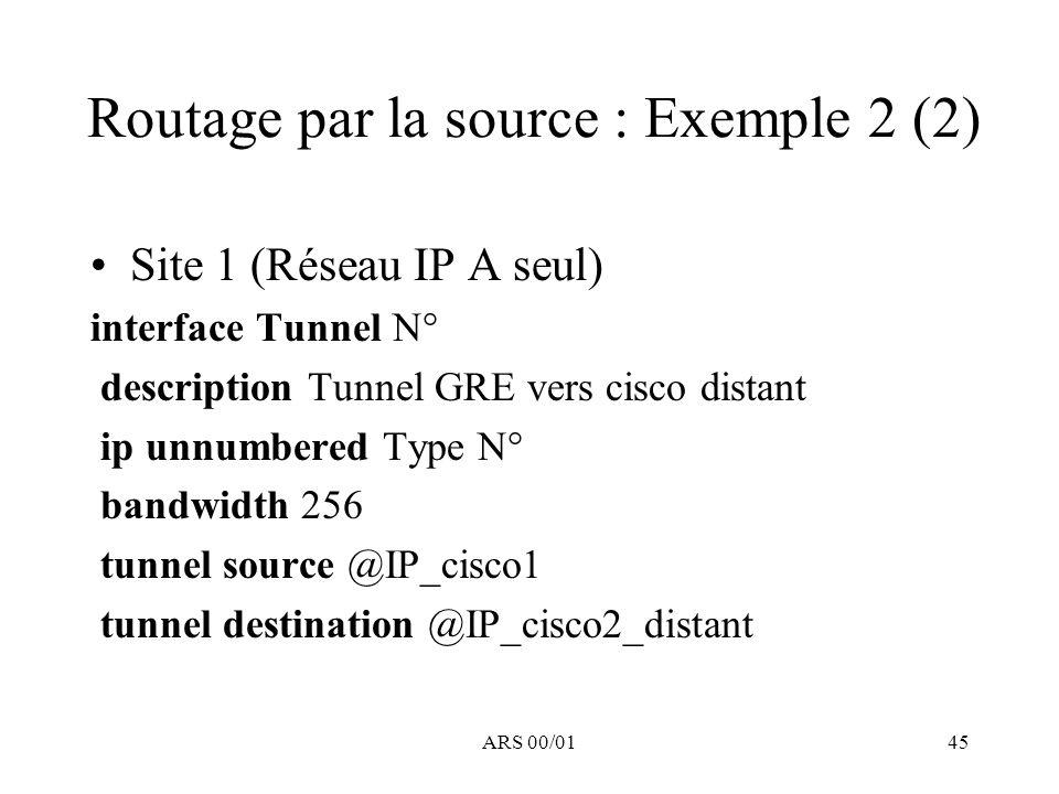 ARS 00/0145 Routage par la source : Exemple 2 (2) Site 1 (Réseau IP A seul) interface Tunnel N° description Tunnel GRE vers cisco distant ip unnumbere