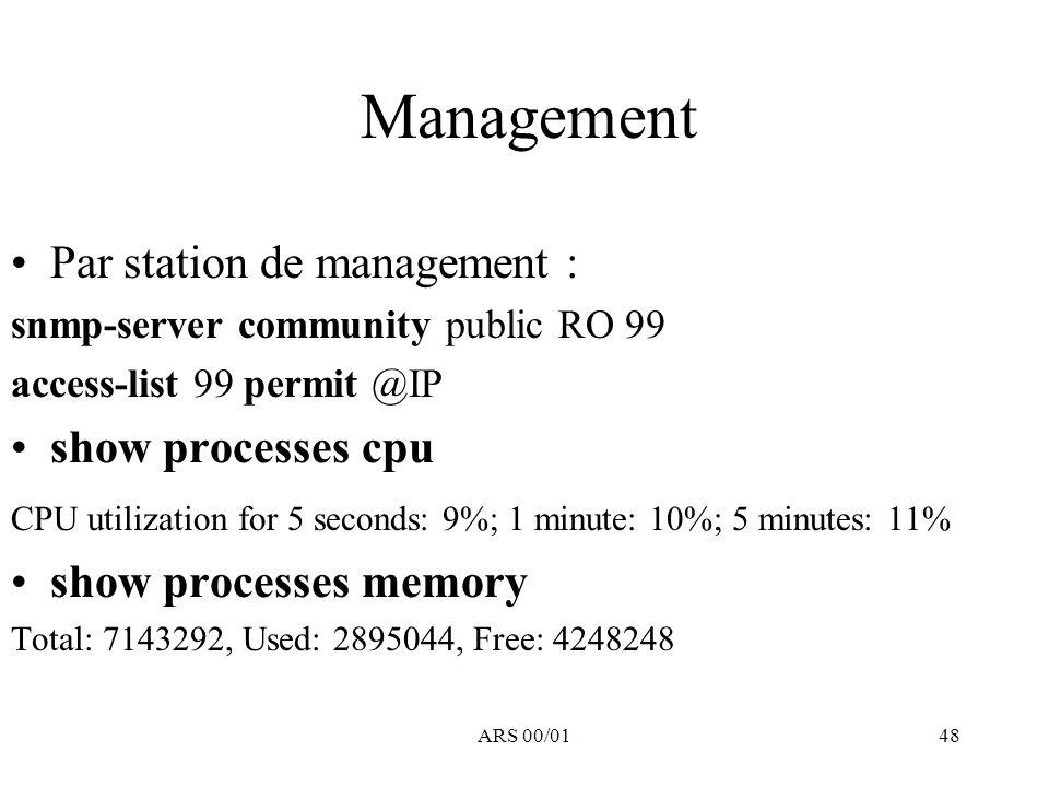 ARS 00/0148 Management Par station de management : snmp-server community public RO 99 access-list 99 permit @IP show processes cpu CPU utilization for