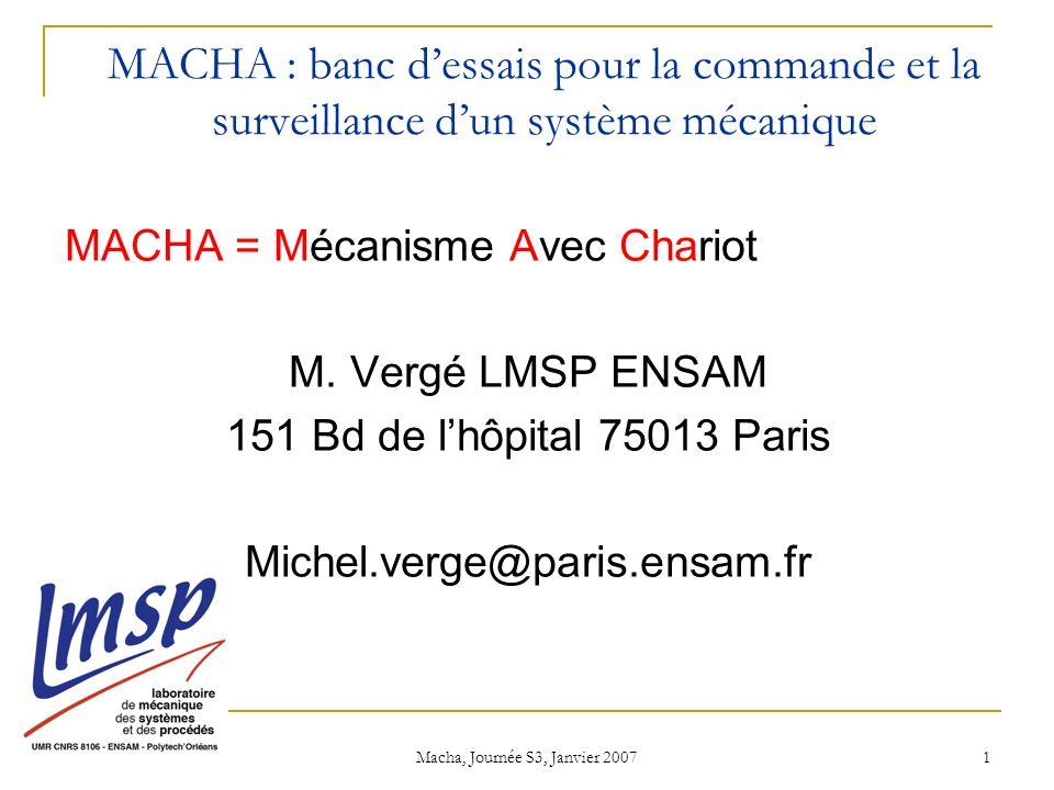 Macha, Journée S3, Janvier 2007 1 MACHA : banc dessais pour la commande et la surveillance dun système mécanique MACHA = Mécanisme Avec Chariot M.