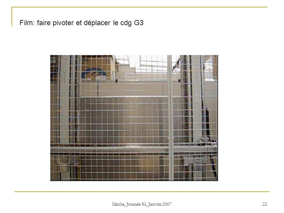 Macha, Journée S3, Janvier 2007 22 Film: faire pivoter et déplacer le cdg G3
