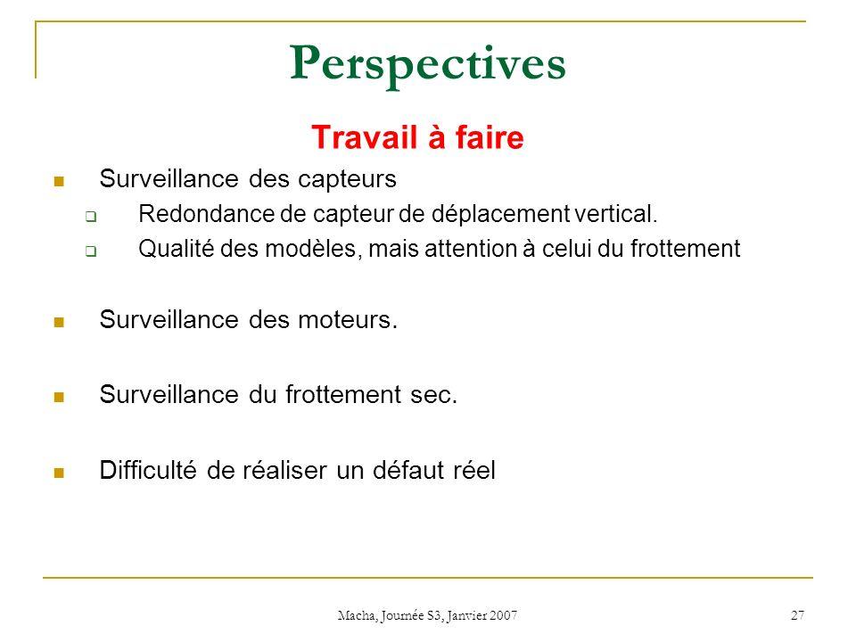 Macha, Journée S3, Janvier 2007 27 Perspectives Travail à faire Surveillance des capteurs Redondance de capteur de déplacement vertical.