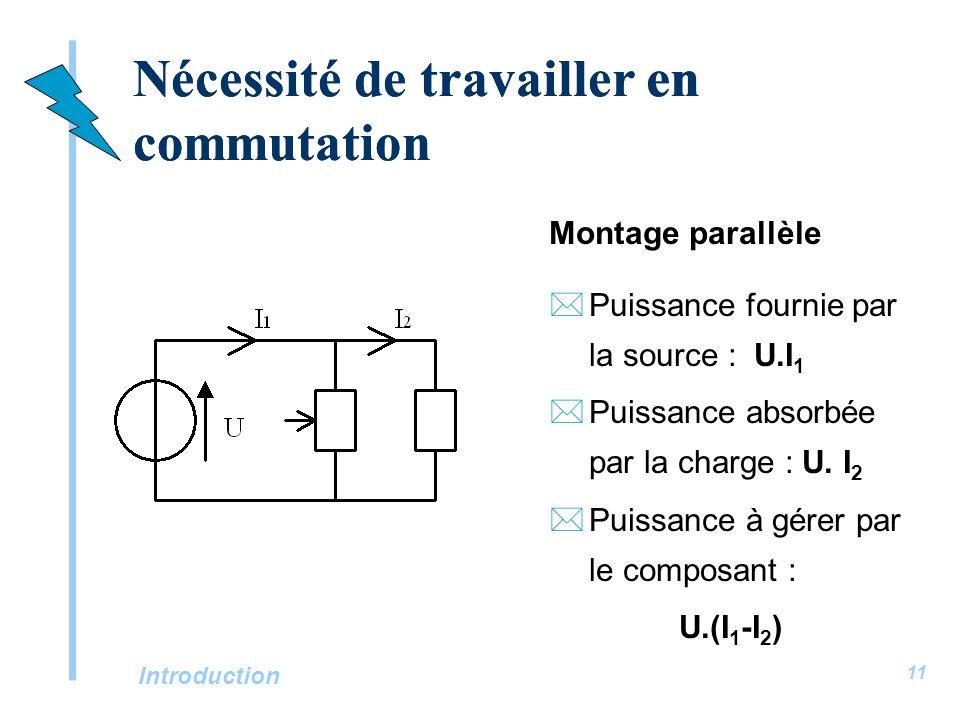 Introduction 11 Nécessité de travailler en commutation Montage parallèle *Puissance fournie par la source : U.I 1 *Puissance absorbée par la charge :