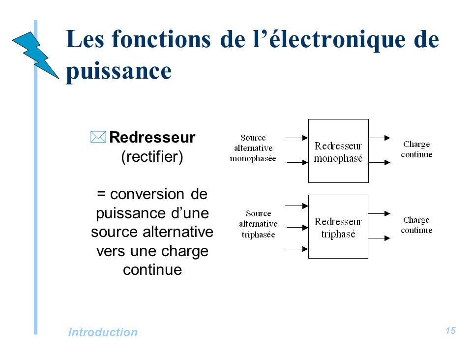 Introduction 15 Les fonctions de lélectronique de puissance *Redresseur (rectifier) = conversion de puissance dune source alternative vers une charge