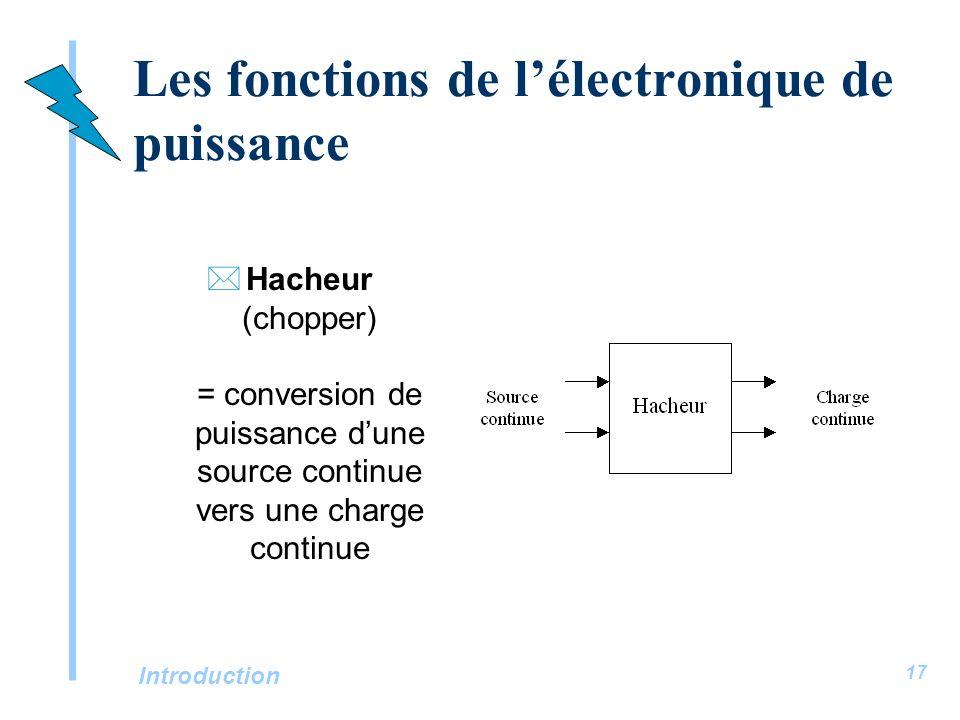 Introduction 17 Les fonctions de lélectronique de puissance *Hacheur (chopper) = conversion de puissance dune source continue vers une charge continue
