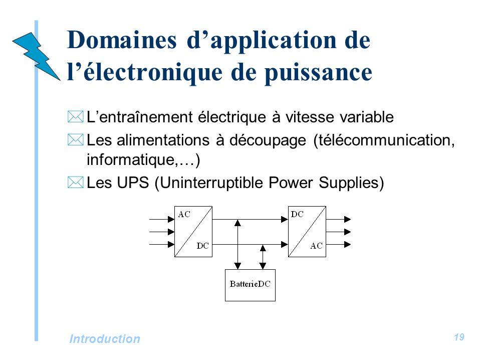 Introduction 19 Domaines dapplication de lélectronique de puissance *Lentraînement électrique à vitesse variable *Les alimentations à découpage (téléc