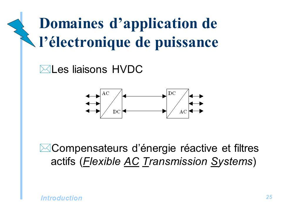 Introduction 25 Domaines dapplication de lélectronique de puissance *Les liaisons HVDC *Compensateurs dénergie réactive et filtres actifs (Flexible AC