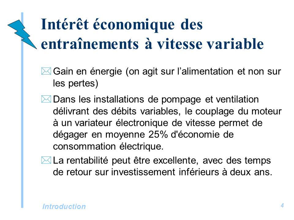 Introduction 4 Intérêt économique des entraînements à vitesse variable *Gain en énergie (on agit sur lalimentation et non sur les pertes) *Dans les in