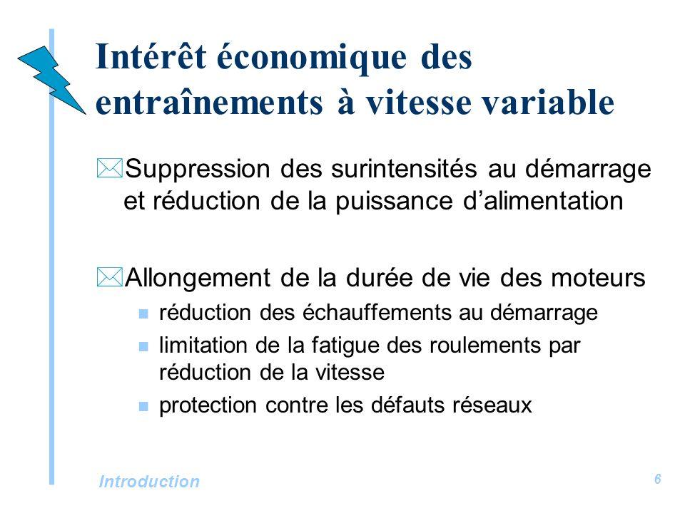 Introduction 6 Intérêt économique des entraînements à vitesse variable *Suppression des surintensités au démarrage et réduction de la puissance dalime
