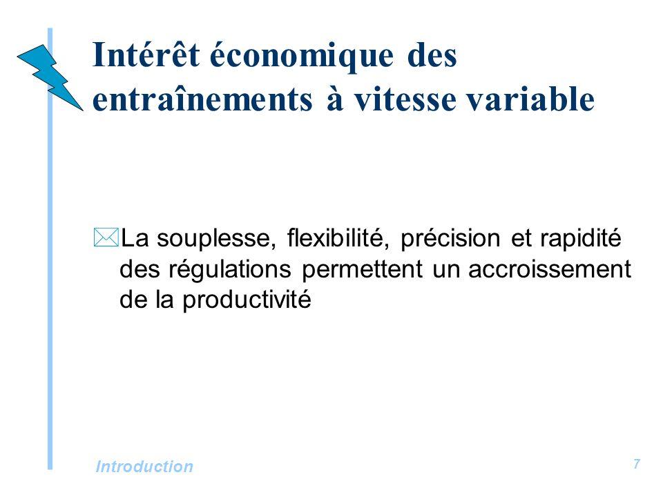 Introduction 7 Intérêt économique des entraînements à vitesse variable *La souplesse, flexibilité, précision et rapidité des régulations permettent un