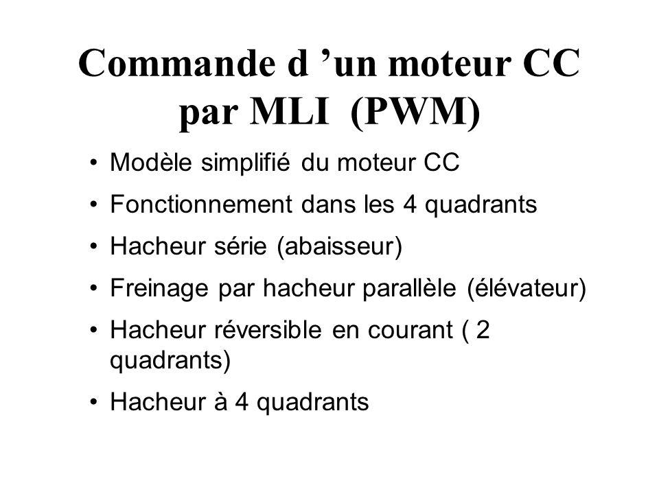 Commande d un moteur CC par MLI (PWM) Modèle simplifié du moteur CC Fonctionnement dans les 4 quadrants Hacheur série (abaisseur) Freinage par hacheur parallèle (élévateur) Hacheur réversible en courant ( 2 quadrants) Hacheur à 4 quadrants