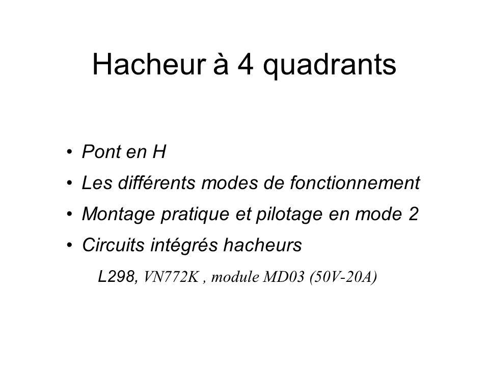Hacheur à 4 quadrants Pont en H Les différents modes de fonctionnement Montage pratique et pilotage en mode 2 Circuits intégrés hacheurs L298, VN772K,