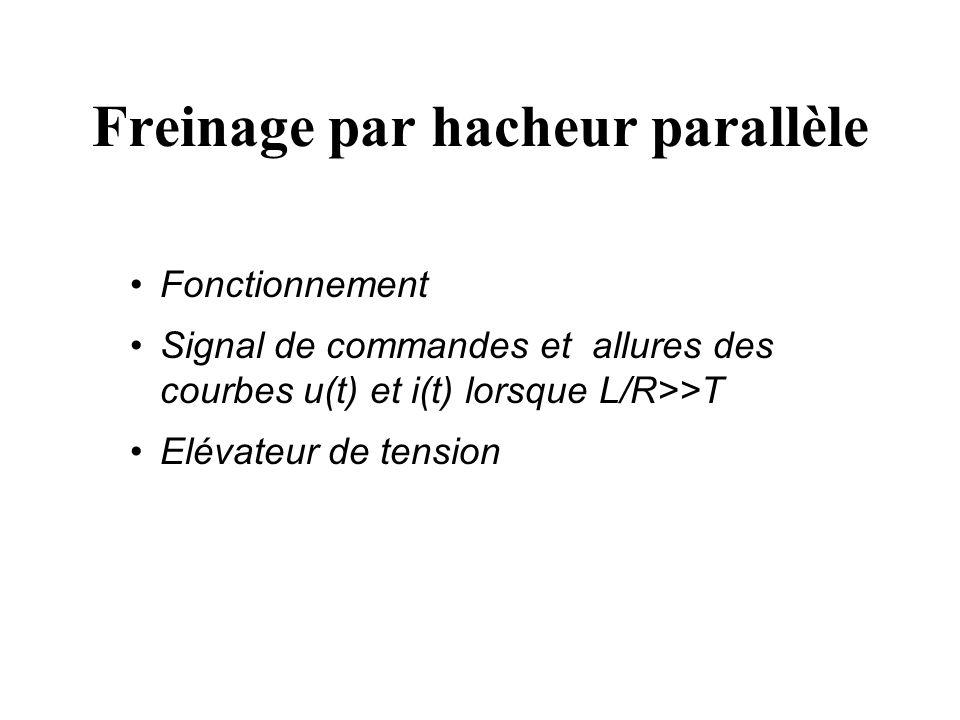 Freinage avec récupération d énergie L inductance stocke de l énergie L inductance restitue de l énergie G T est saturé +U 0 u D + - G T est bloqué +U 0 u D + - ii