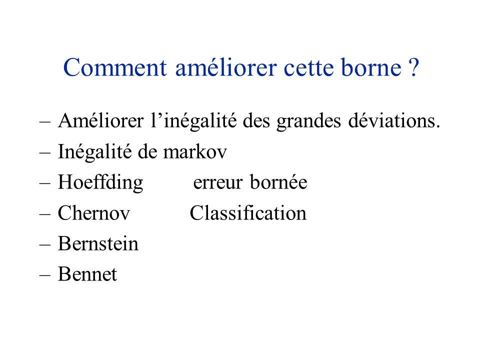 –Améliorer linégalité des grandes déviations. –Inégalité de markov –Hoeffding erreur bornée –Chernov Classification –Bernstein –Bennet