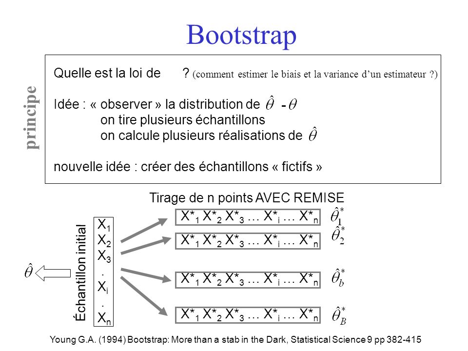 X 1 X 2 X 3. X i. X n Bootstrap Young G.A. (1994) Bootstrap: More than a stab in the Dark, Statistical Science 9 pp 382-415 Quelle est la loi de ? (co