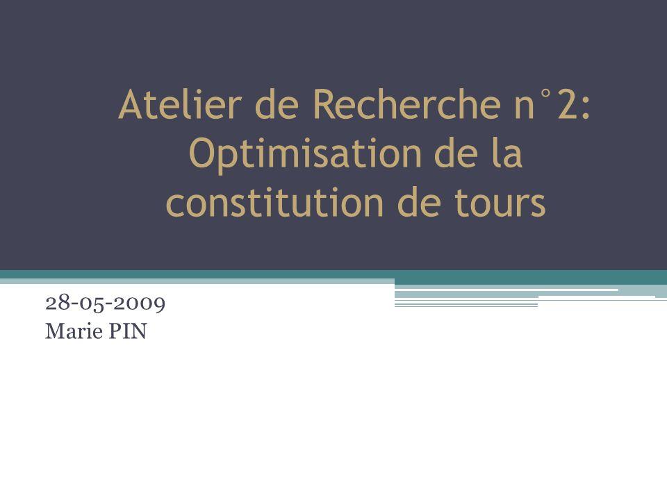 Atelier de Recherche n°2: Optimisation de la constitution de tours 28-05-2009 Marie PIN