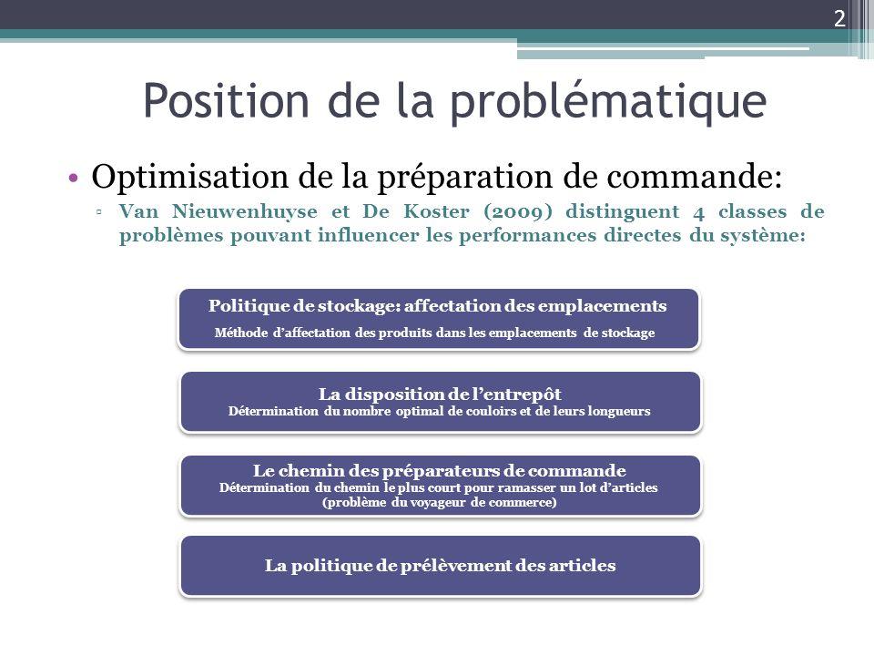 Position de la problématique Optimisation de la préparation de commande: Van Nieuwenhuyse et De Koster (2009) distinguent 4 classes de problèmes pouva