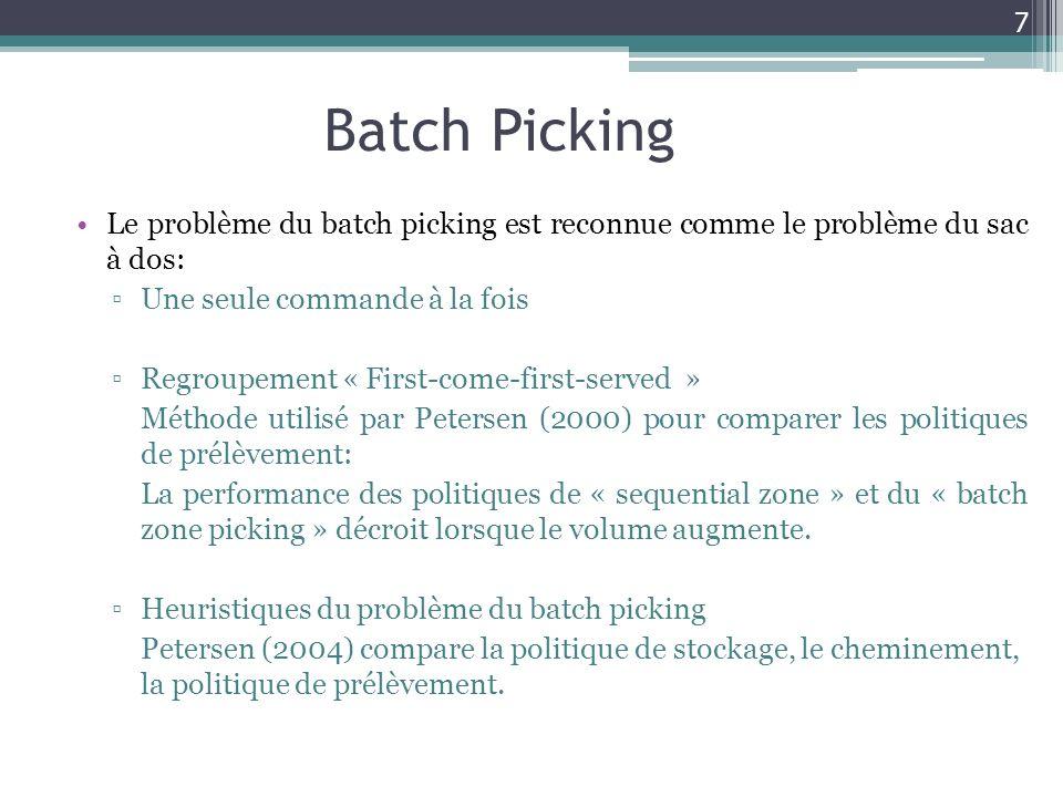 Batch Picking Le problème du batch picking est reconnue comme le problème du sac à dos: Une seule commande à la fois Regroupement « First-come-first-s