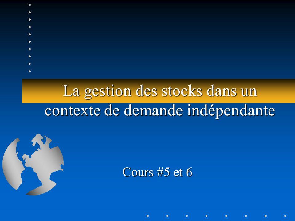 La gestion des stocks dans un contexte de demande indépendante Cours #5 et 6