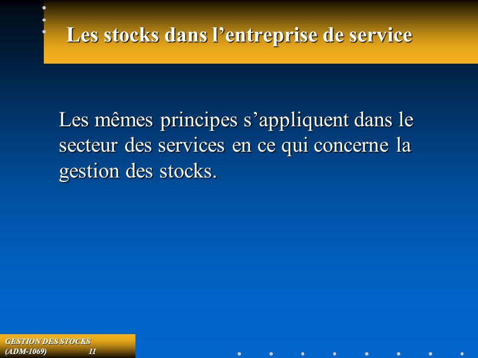 GESTION DES STOCKS (ADM-1069) 11 Les stocks dans lentreprise de service Les mêmes principes sappliquent dans le secteur des services en ce qui concerne la gestion des stocks.