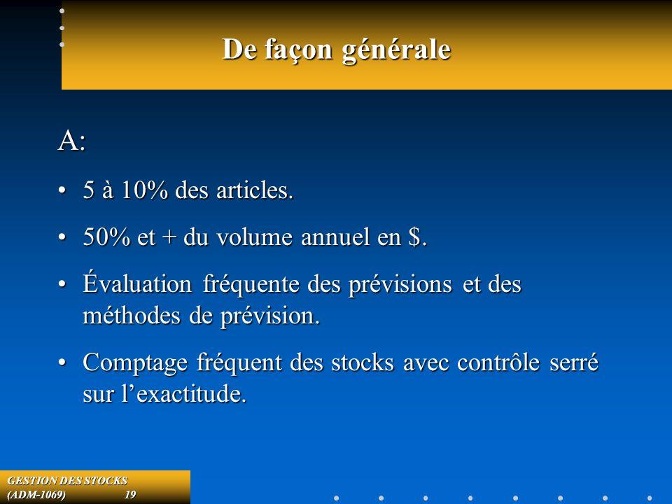 GESTION DES STOCKS (ADM-1069) 19 De façon générale A: 5 à 10% des articles.5 à 10% des articles.