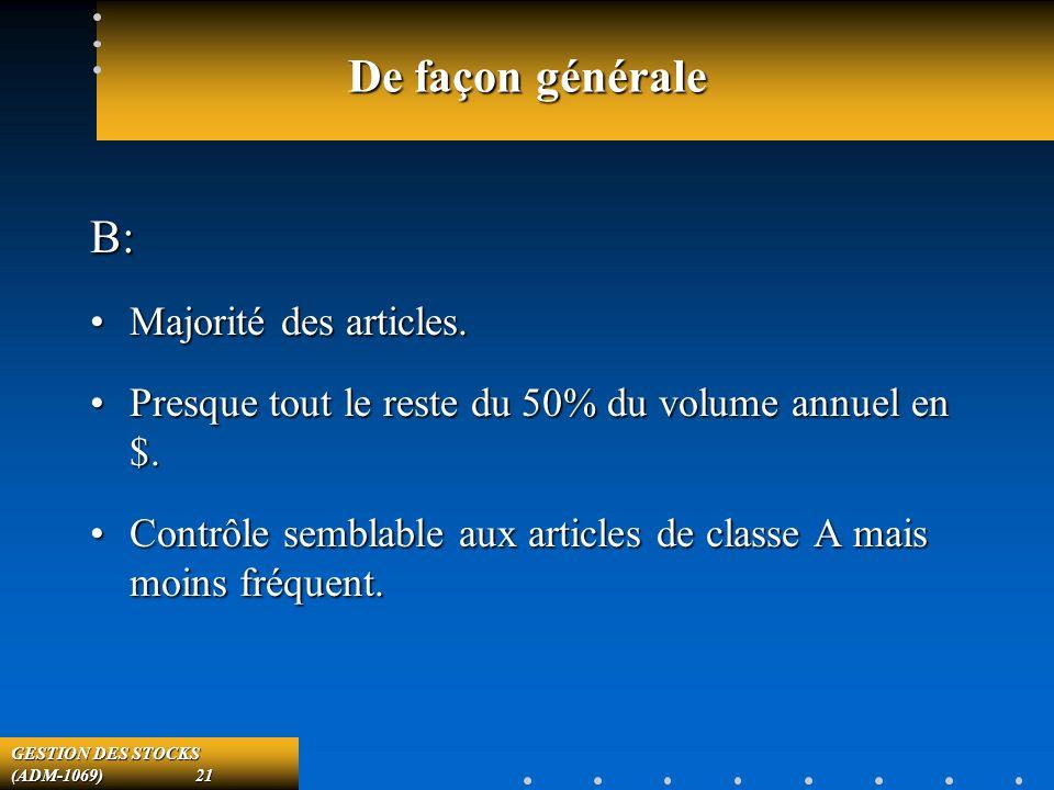GESTION DES STOCKS (ADM-1069) 21 De façon générale B: Majorité des articles.Majorité des articles.