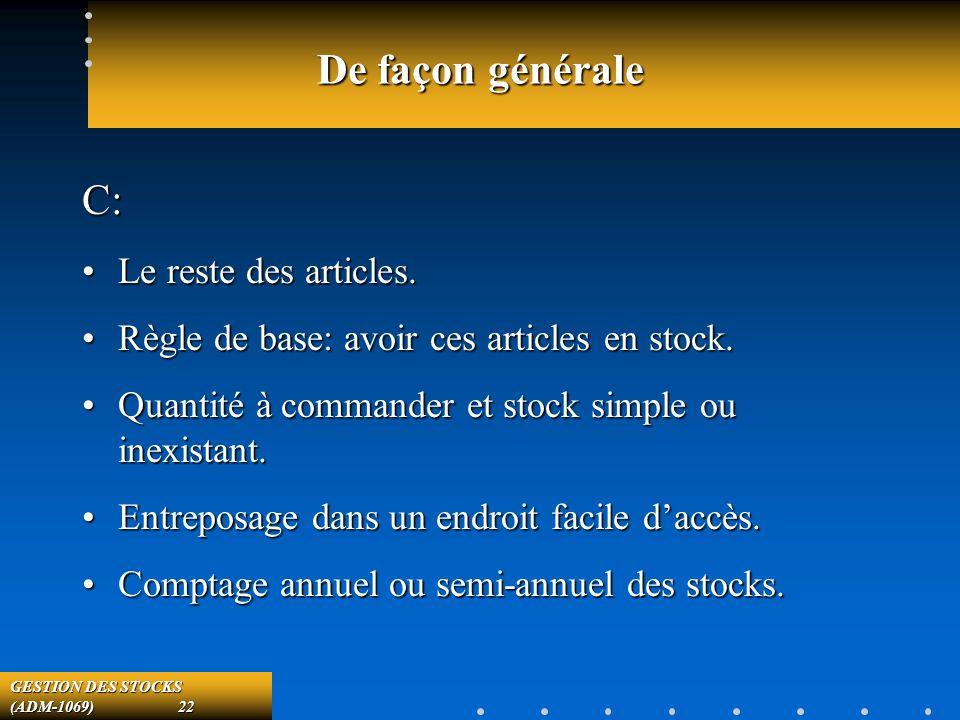 GESTION DES STOCKS (ADM-1069) 22 De façon générale C: Le reste des articles.Le reste des articles.