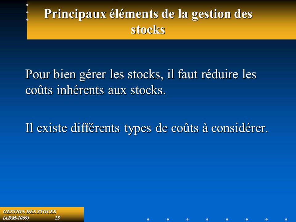 GESTION DES STOCKS (ADM-1069) 25 Principaux éléments de la gestion des stocks Pour bien gérer les stocks, il faut réduire les coûts inhérents aux stocks.