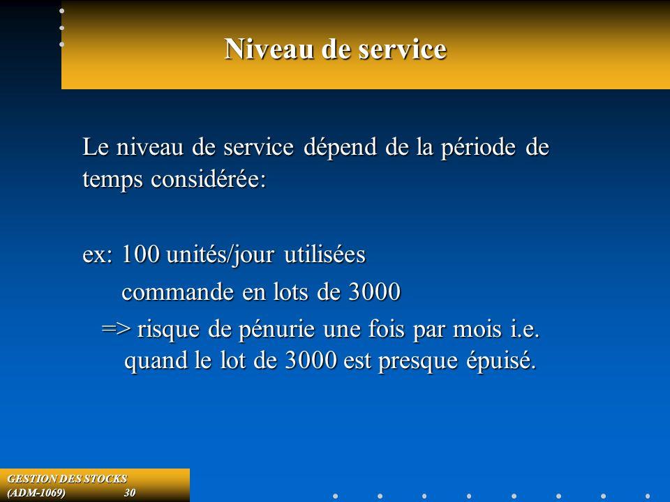 GESTION DES STOCKS (ADM-1069) 30 Niveau de service Le niveau de service dépend de la période de temps considérée: ex: 100 unités/jour utilisées commande en lots de 3000 commande en lots de 3000 => risque de pénurie une fois par mois i.e.