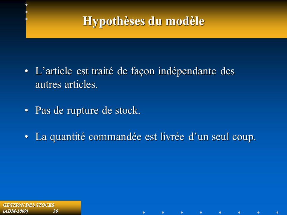 GESTION DES STOCKS (ADM-1069) 36 Hypothèses du modèle Larticle est traité de façon indépendante des autres articles.Larticle est traité de façon indépendante des autres articles.