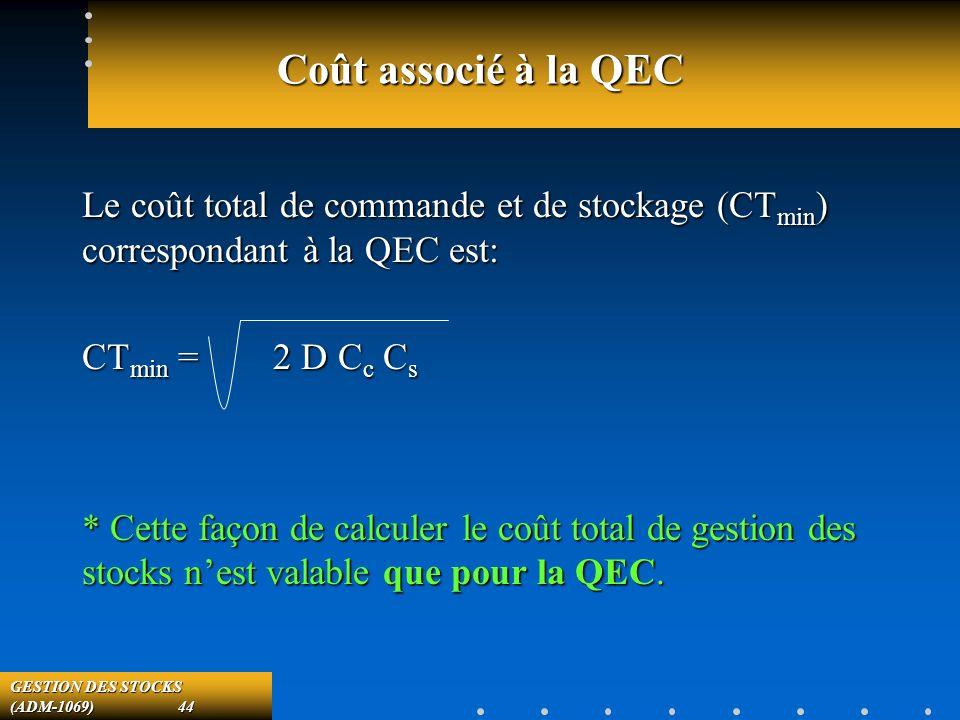 GESTION DES STOCKS (ADM-1069) 44 Coût associé à la QEC Le coût total de commande et de stockage (CT min ) correspondant à la QEC est: CT min = 2 D C c C s * Cette façon de calculer le coût total de gestion des stocks nest valable que pour la QEC.