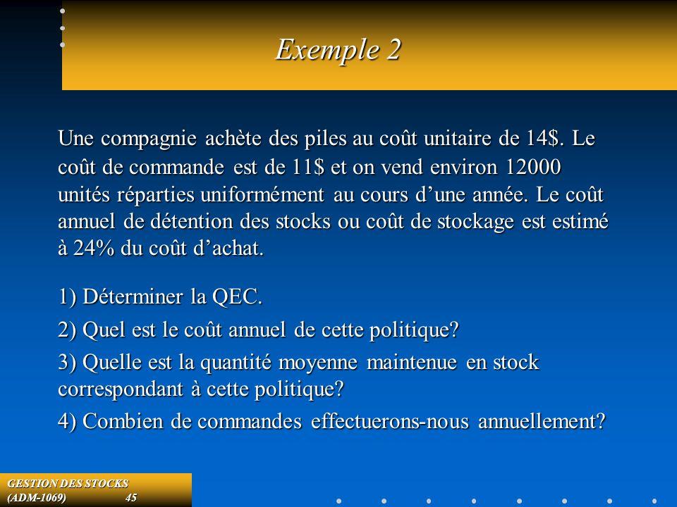 GESTION DES STOCKS (ADM-1069) 45 Exemple 2 Une compagnie achète des piles au coût unitaire de 14$.