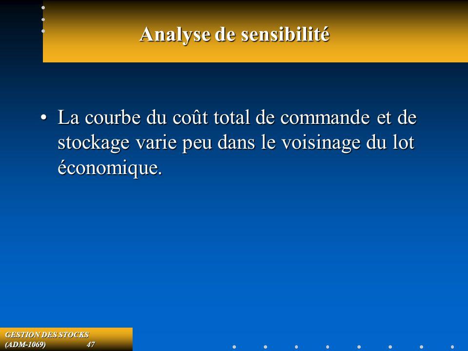 GESTION DES STOCKS (ADM-1069) 47 Analyse de sensibilité La courbe du coût total de commande et de stockage varie peu dans le voisinage du lot économique.La courbe du coût total de commande et de stockage varie peu dans le voisinage du lot économique.