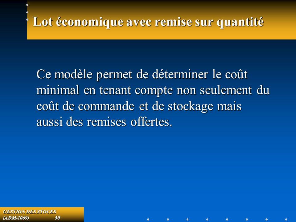 GESTION DES STOCKS (ADM-1069) 50 Lot économique avec remise sur quantité Ce modèle permet de déterminer le coût minimal en tenant compte non seulement du coût de commande et de stockage mais aussi des remises offertes.