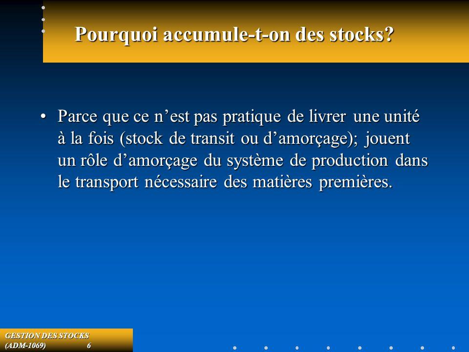 GESTION DES STOCKS (ADM-1069) 6 Pourquoi accumule-t-on des stocks.