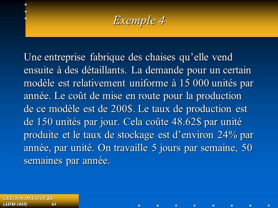 GESTION DES STOCKS (ADM-1069) 64 Exemple 4 Une entreprise fabrique des chaises quelle vend ensuite à des détaillants.