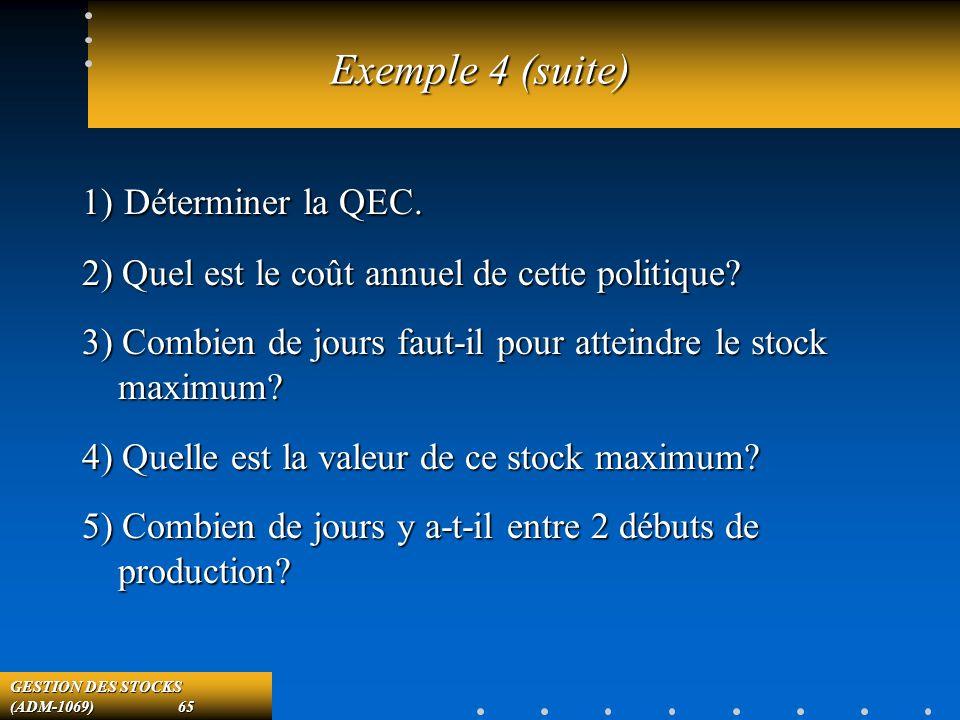 GESTION DES STOCKS (ADM-1069) 65 Exemple 4 (suite) 1) Déterminer la QEC.