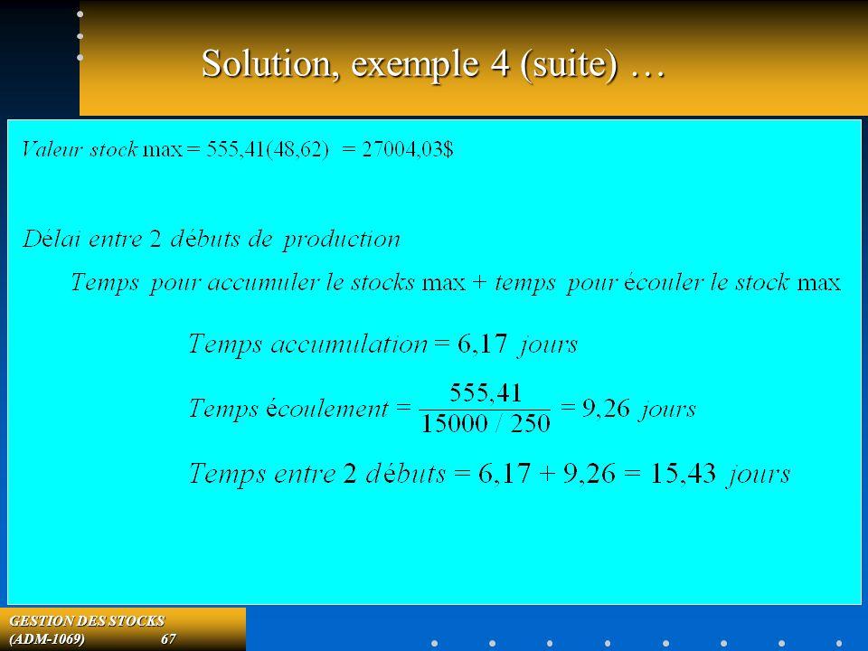 GESTION DES STOCKS (ADM-1069) 67 Solution, exemple 4 (suite) …