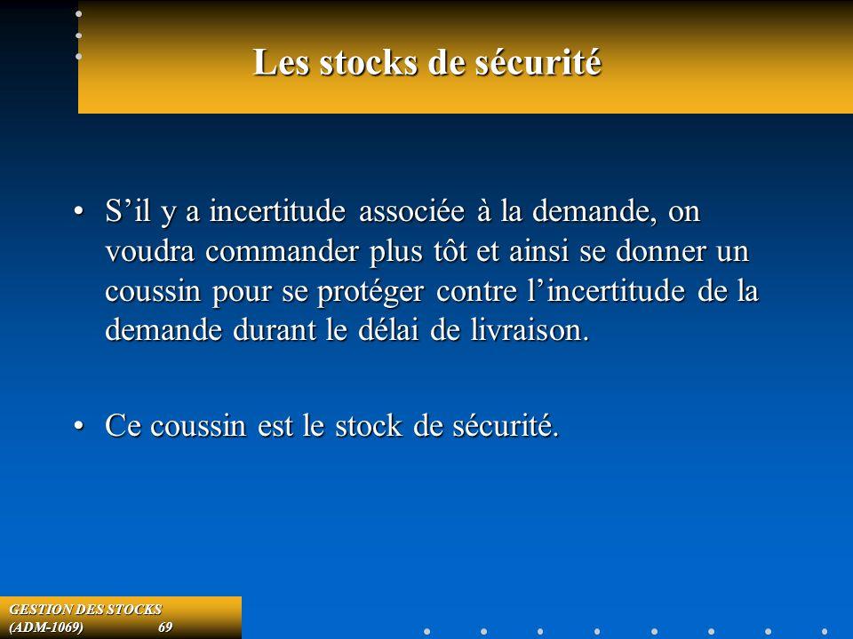 GESTION DES STOCKS (ADM-1069) 69 Les stocks de sécurité Sil y a incertitude associée à la demande, on voudra commander plus tôt et ainsi se donner un coussin pour se protéger contre lincertitude de la demande durant le délai de livraison.Sil y a incertitude associée à la demande, on voudra commander plus tôt et ainsi se donner un coussin pour se protéger contre lincertitude de la demande durant le délai de livraison.