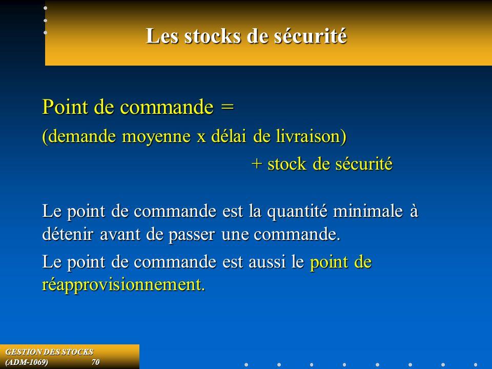 GESTION DES STOCKS (ADM-1069) 70 Les stocks de sécurité Point de commande = (demande moyenne x délai de livraison) + stock de sécurité + stock de sécurité Le point de commande est la quantité minimale à détenir avant de passer une commande.