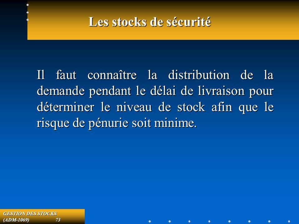 GESTION DES STOCKS (ADM-1069) 73 Les stocks de sécurité Il faut connaître la distribution de la demande pendant le délai de livraison pour déterminer le niveau de stock afin que le risque de pénurie soit minime.