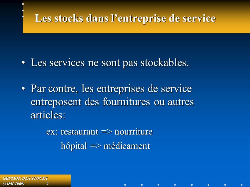 GESTION DES STOCKS (ADM-1069) 9 Les stocks dans lentreprise de service Les services ne sont pas stockables.Les services ne sont pas stockables.