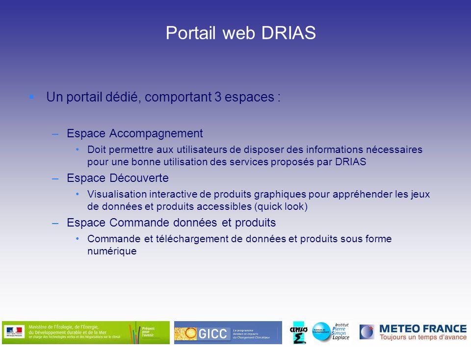 Portail web DRIAS Un portail dédié, comportant 3 espaces : –Espace Accompagnement Doit permettre aux utilisateurs de disposer des informations nécessa