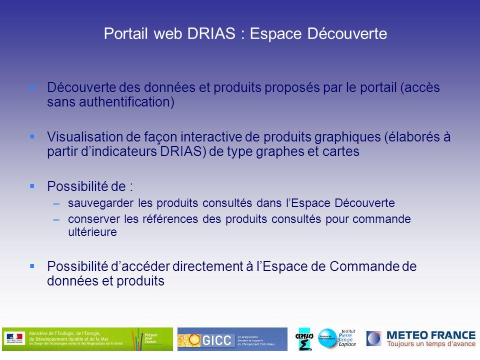 Portail web DRIAS : Espace Découverte Découverte des données et produits proposés par le portail (accès sans authentification) Visualisation de façon