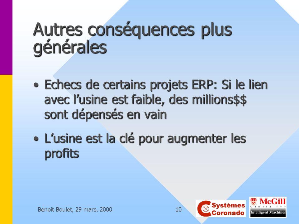 Benoit Boulet, 29 mars, 200010 Autres conséquences plus générales Echecs de certains projets ERP: Si le lien avec lusine est faible, des millions$$ so