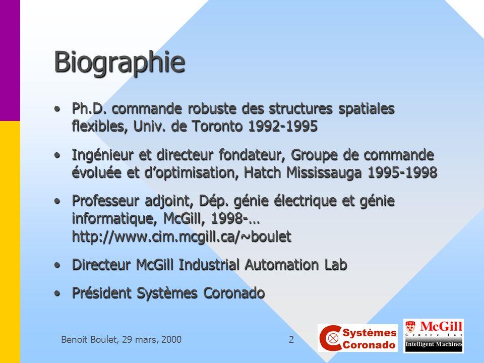 Benoit Boulet, 29 mars, 200013 MES offerts sur le marché ORSI CubeORSI Cube WonderWareWonderWare Hilco Rtpm, etc.Hilco Rtpm, etc.