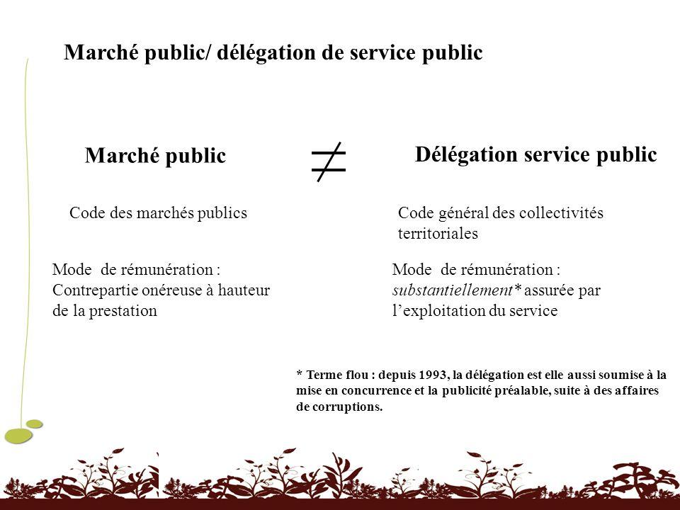 Marché public/ délégation de service public Marché public Délégation service public Code des marchés publicsCode général des collectivités territorial